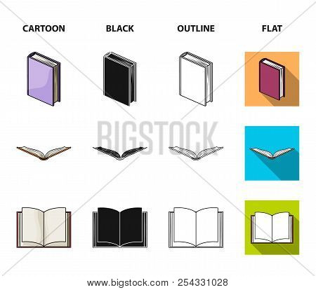 Various Kinds Of Books. Books Set Collection Icons In Cartoon, Black, Outline, Flat Style Vector Sym