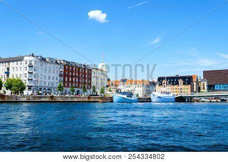 Copenhagen, Denmark - July 13, 2018. Beautiful Architecture Of Copenhagen On The Bank Of The Canal.
