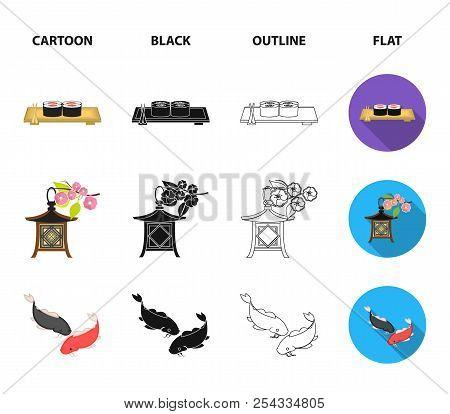 Sushi, Koi Fish, Japanese Lantern, Panda.japan Set Collection Icons In Cartoon, Black, Outline, Flat