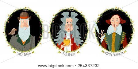 History Of England. Portraits Of Famous People. William Shakespeare, Isaac Newton, Charles Darwin. V