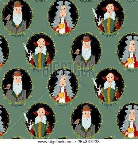 History Of England. Portraits Of Famous People. William Shakespeare, Isaac Newton, Charles Darwin. S