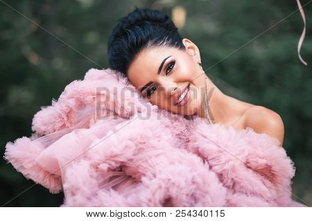 Happy Valentine's Day, Portrait Of Fashion Sexy Woman Dressed In Pink Stunning Dress