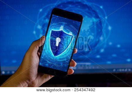 Shield Internet phone Smartphone is protected from hacker attacks, Firewall Businesspeople press the protected phone on the internet. space put message poster