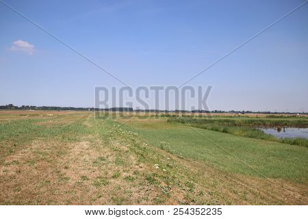 Fields In The Eendragtspolder In Zevenhuizen The Netherlands, A Polder Used For Water Storage To Pro