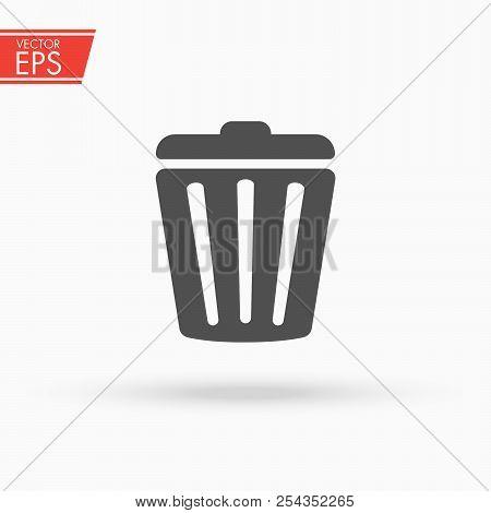 Trash Can Icon. Garbage Bin Sign. Recycle Basket Vector Illustration. Delete Concept. Rubbish Trashc