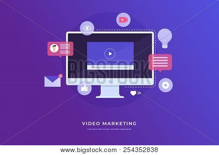 Video Marketing Concept. Monitor Computer And Icon Video Player, Email. Digital Industry. Vector Fla
