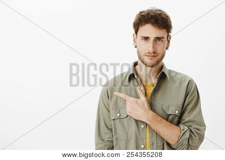 Guy Expressing Disbelief, Unwilling To Go There. Portrait Of Unsure Good-looking Male Model With Bri