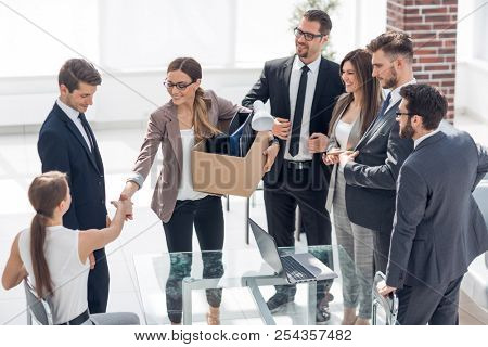 business team meets a new employee