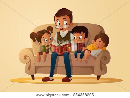 Grandfather Sitting With Grandchildren On A Cozy Sofa With The Book, Reading And Telling Book Fairy