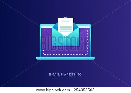 Email Marketing Concept. Laptop With Envelope And Open Email On Screen. Communication, Information D
