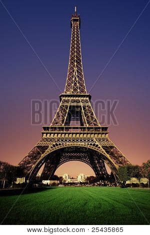 Eiffel Tower in the evening after sunset poster