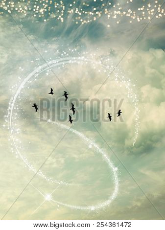 Fantasy Landscape In The Sky With Birds And Stars