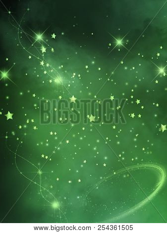 Fantasy Sky Background With Stars And Cloud