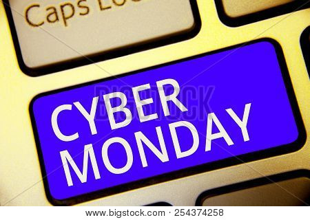 Conceptual Hand Writing Showing Cyber Monday. Business Photo Showcasing Marketing Term For Monday Af