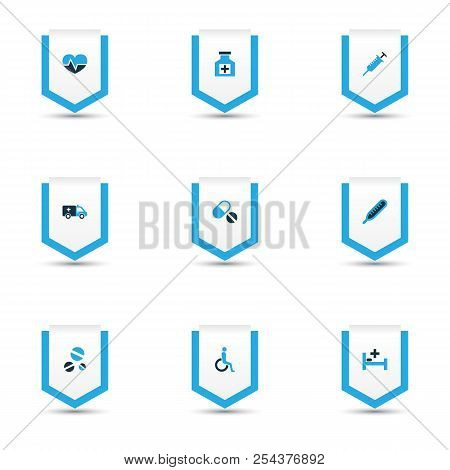 Drug Icons Colored Set With Thermometer, Drug, Injection And Other Dope  Elements. Isolated  Illustr