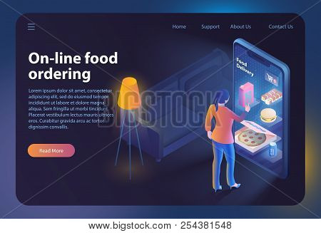 On-line Food Ordering. Online Ordering And Fast Food Delivery. Food Order Application. Woman Looks M