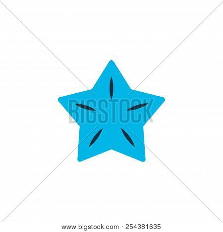 Starfruit Icon Colored Symbol. Premium Quality Isolated Carambola Element In Trendy Style.