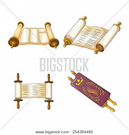 Torah Scroll Book Bible Shavuot Icons Set. Cartoon Illustration Of 4 Torah Scroll Book Bible Shavuot
