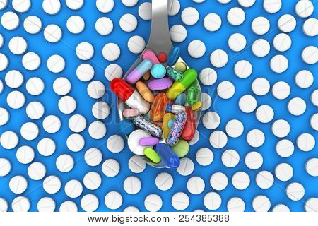 Dose of colorful pills in spoon - 3d render poster