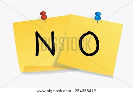 No Sign On Yellow Stickers For Banner, Speech Bubble, Poster, Protest Message, Concept, Answer. Vect