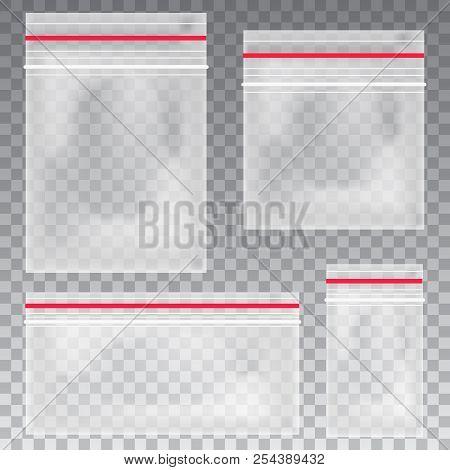 Empty Transparent Plastic Pocket Bags. Blank Vacuum Zipper Bag. Polythene Container Set On The Trans