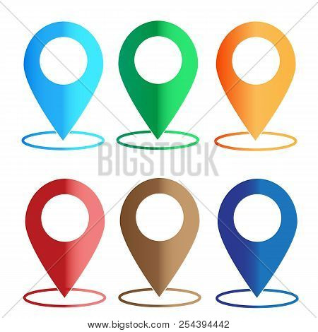 Gps Navigation Application. Set Map Colors Icon On White Background. Map Color Sign. Map Point. Flat