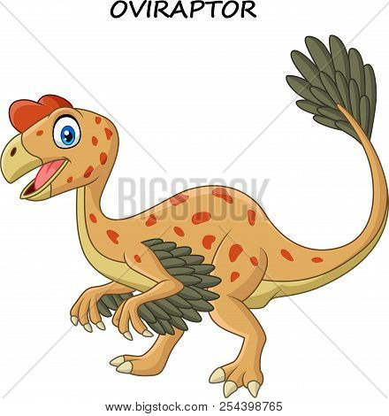 Vector Illustration Of Cartoon Smiling Oviraptor Dinosaur