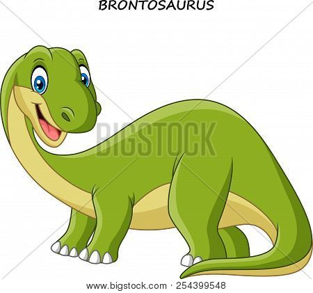 Vector Illustration Of Cartoon Smiling Brontosaurus On White Background