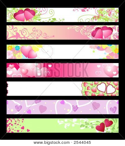 Love & Hearts Website Banners / Vector / Set #2