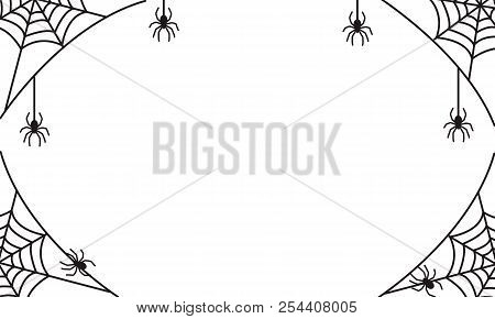 Spooky Halloween Frame Or Border With Black Spider Web And Hanging Spiders, Vector Illustration For