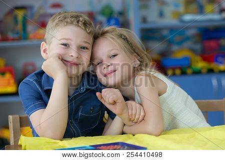 Belarus, Gomel, May 30, 2018. The Central Kindergarten. Open Day.beautiful Boy And Girl In Kindergar