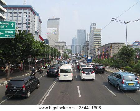 Jakarta, Indonesia - August 2, 2018: Traffic On Jalan Thamrin (thamrin Road).