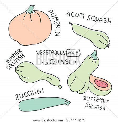 Set With Hand Drawn Colorful Doodle Vegetables. Vegetables Flat Icons Set Of Squash : Pumpkin, Atom