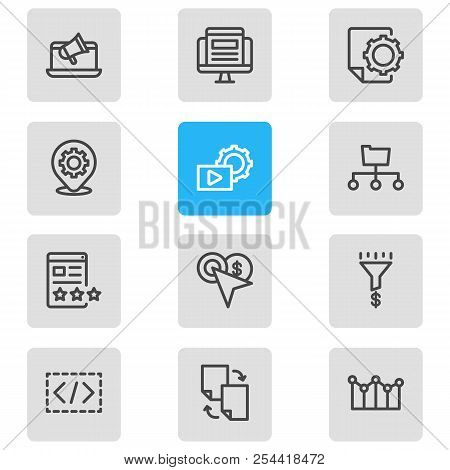 Vector Illustration Of 12 Advertisement Icons Line Style. Editable Set Of File Sharing, Traffic Conv