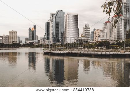 Bangkok, Thailand - August 12,2018 : Benjakiti Garden Cityscape View ,famous Place