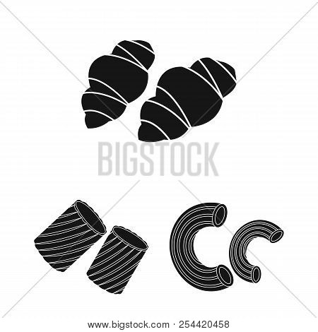 Types Of Pasta Black Icons In Set Collection For Design. Figured Macaroni For Eating Vector Symbol S