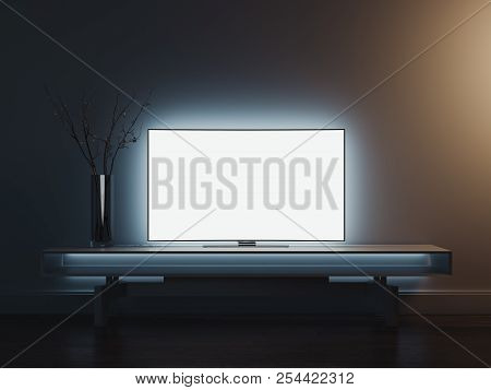 Close Up Of Tv Set Standing On Tv Stand, 3d Rendering.