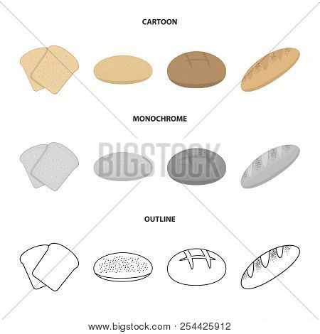 Toast, Pizza Stock, Ruffed Loaf, Round Rye.bread Set Collection Icons In Cartoon, Outline, Monochrom