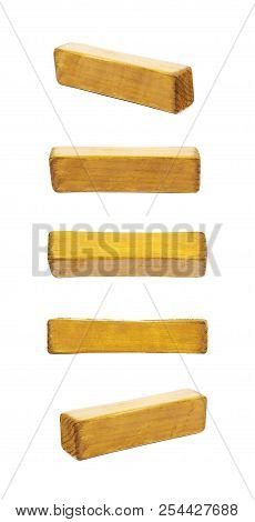 Hyphen Dash Symbol Sawn Of Wood And Paint Coated, Isolated Over The White Background, Set Of Five Di
