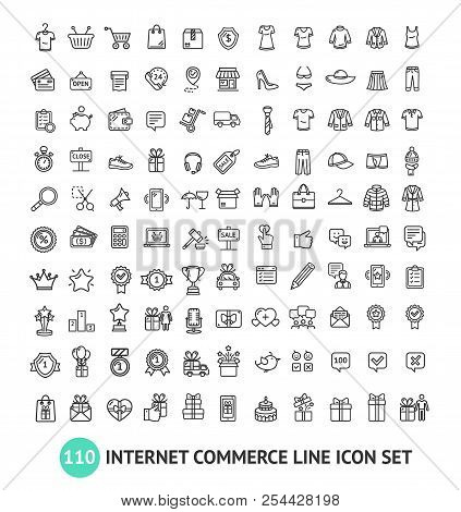 E-commerce Shopping Signs Black Thin Line Icon Set. Vector