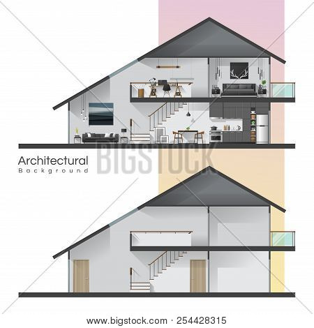 House Cross Section With Furniture And Empty House , Vector , Illustration