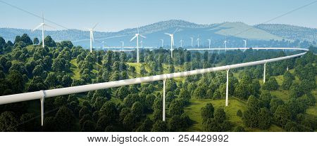 3d Rendering Of High Speed Traveling Technology And Wind Turbines In Forest Landscape.