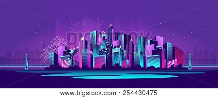 vector horizontal illustration neon-strewn night metropolis panoramic poster