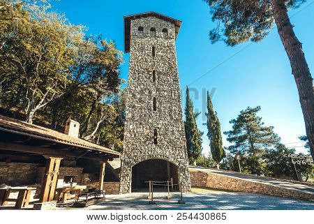 Kvareli, Georgia - Oct 3: Traditional Tower, Georgian Architecture With Rural Courtyard, Brick House