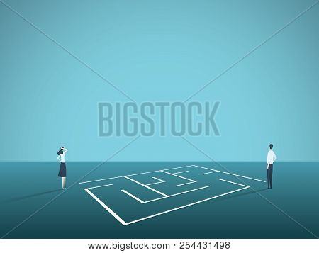 Business Solution Vector Concept With Businessman And Businesswoman Standing Next To Maze, Labyrinth