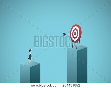Business Goal, Objective, Success Vector Concept. Businesswoman Scoring Bullseye With Dart. Symbol O