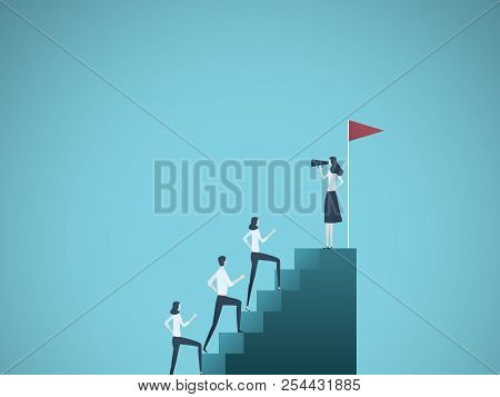 Business Woman Leader Vector Concept. Businesswoman Speaking To Team Climbing Stairs With Megaphone.