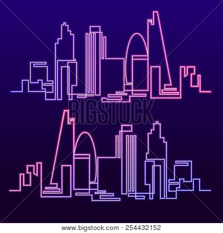Continuous Line Drawing Of Vector Skyline The Night City Of Neon Glow Is Burning. One Line Style Flu