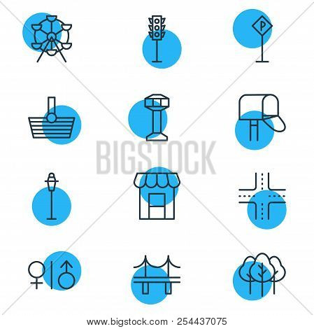 Illustration Of 12 Public Icons Line Style. Editable Set Of Storefront, Shopping, Carousel And Other