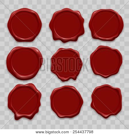 Stamp Wax Seal Vector Icons Set Of Red Sealing Wax Old Realistic Stamps Labels On Transparent Backgr